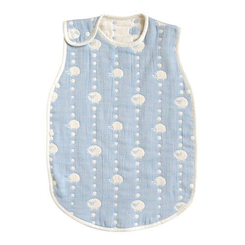 [10mois(ディモワ) - Hoppetta] ふくふくガーゼ(6重ガーゼ) ベビースリーパー 新生児~3歳頃まで ブルー 着丈58cm 5260
