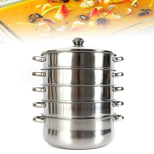 N / Jasemy Stainless Steel 6 Piece Steamer Pot Glass Lid Steamer Cooker Steamer Not Suitable for Induction Cookers