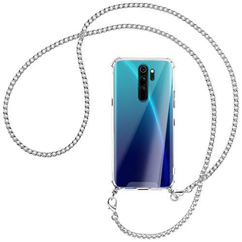 mtb more energy® Collar Smartphone para Xiaomi Redmi Note 8 Pro (6.53'') - Cadena de Metal (Plata) - Funda Protectora ponible - Carcasa Anti Shock