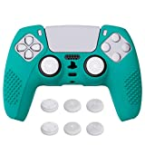 eXtremeRate PlayVital Aqua Green 3D Studded Edition Anti-Slip Silicone Cover Skin for Playstation 5 Controller, Soft Rubber Case for DualSense Wireless Controller with 6 White Thumb Grip Caps
