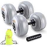 BASED PHILOSOPHY Water Filled Dumbbells Set - Adjustable Dumbbells from 2x20lb to 1x40lb; FreeWeights Dumbbells Set for Home, Office, Outdoors, and Travel Use; Foldable and Safe Dumbbells, Gray
