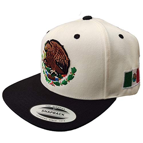 Yupoong Mexican Snapback Mexico Hats (Cream/Black)