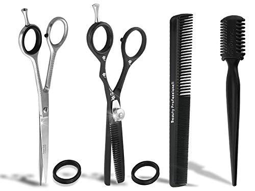 Friseurscheren Set Haarschere mit Mikroverzahnung + Effilierschere 1-Seitig 6 Zoll mit Kamm aus Solingen 4-Teilig