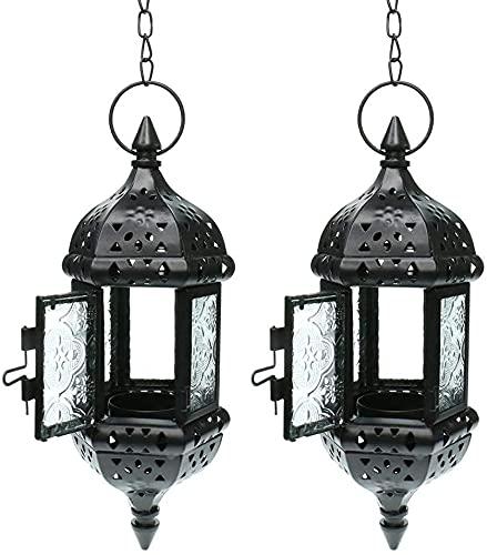 EPYFFJH Colgante de la Vela de la Linterna Retro de la Vela marroquí del Soporte de la Vela de Vidrio de Metal Hueco Linterna para el Patio casero Decoraciones de Navidad (Negro) (Color : Black 2pc)