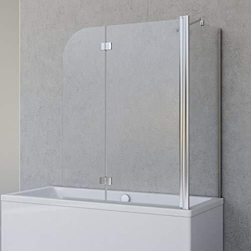 Schulte Badewannenfaltwand Angle, 2-teilig 112 x 142 cm mit Seitenwand für 75 cm Badewanne, 5 mm Sicherheitsglas (ESG) Klar hell, Chromoptik, D693477202 41 50