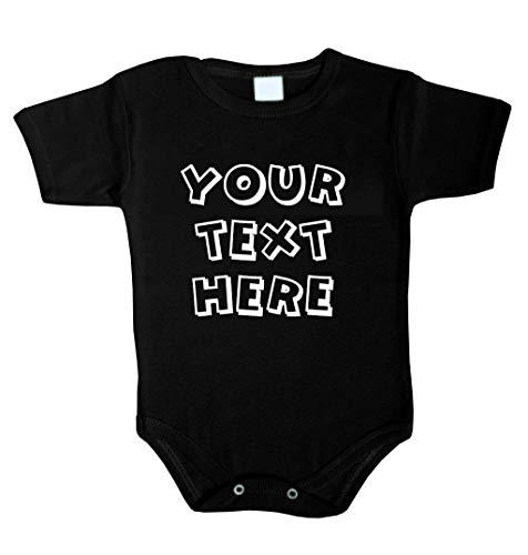 Ihr Wunsch Text Hier Baby Body Selbst Gestalten individueller Druck Personalisiert Babykleidung Strampler Unterwäsche beeindruckend Geschenk Überraschung Geburtstag Weihnachts (62 (0-3m), SCHWARZ)