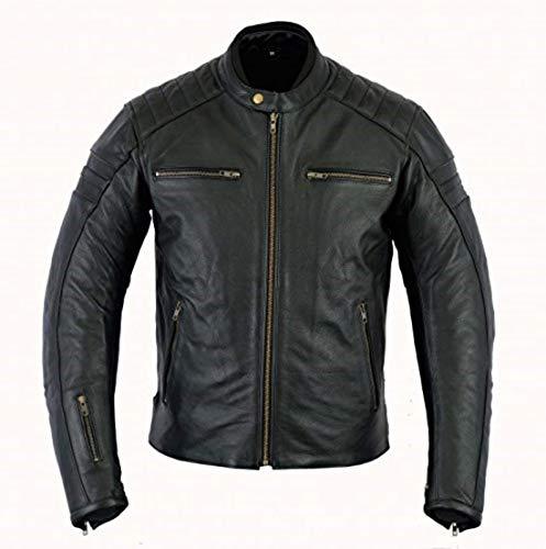 Herren echtes Leder Bikerjacke Rindsleder Motorradjacke (XL)