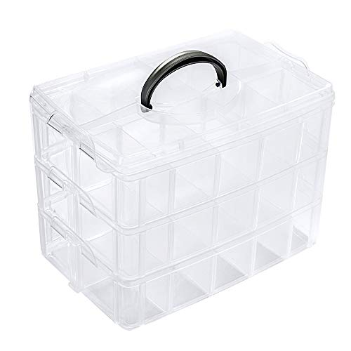 ZLY 3-Tier Demountable Plastic Jewelry Box Organizer Storage Container with Adjustable Dividers 30(Large) Grids