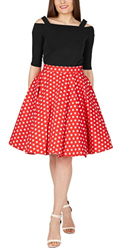 BlackButterfly Polka-Dots 1950er-Jahre Swing Tellerrock (Rot, EUR 40 - M)