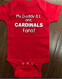 My Daddy and I are St Louis Cardinals fans baby one piece infant baseball bodysuit