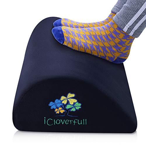 Foot Rest Pillow Support Cushion Under Desk Teardrop Curved Velvet Soft Ergonomic Chair Footrest Foot Stool Back Lumbar Knee for Office Home Black