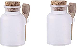 2PCS 300ML 10OZ Frosted Empty Plastic Bottle with Wooden Spoon and Cork Stopper Bath Salt Shaker Food Powder Seasoning Nut Storage Holder Refillable Container Pot Jar for Daily Life