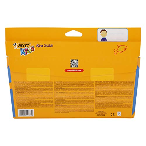 BIC Kids Kid Couleur Felt Tip Colouring Pens - Ultra Washable Assorted Colours, Cardboard Wallet of 24, Pack of 24