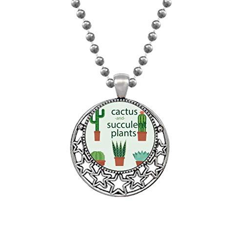 Suculentas planta en maceta Cactus Ilustración Collares Colgante Retro Luna Estrellas Joyería