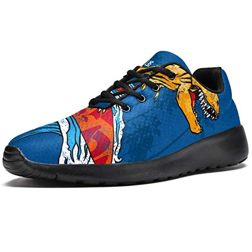 Zapatillas deportivas para correr para mujer, diseño de dinosaurio, surf, de malla, transpirables, para caminar, senderismo, tenis, color, talla 39 EU