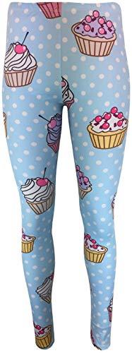 mygoodtime Damen Leggings lang blickdicht Sport Hose Stretch Tights Yoga elastische Jogginghose Einheitsgröße verschiedene Muster (Hellblau Comic Muffin)
