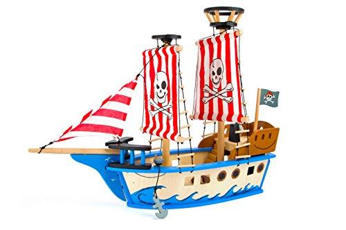 small foot 10469 Piratenschiff 'Jack' aus Holz, in bunten Farben, mit Piratenflagge, Segeln und Kanonen, ab 3...