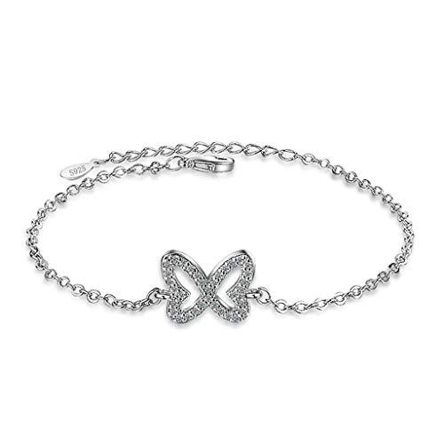 Plating White Gold Butterfly Bracelet Chain Womens Girls Jewellery Best for Gift