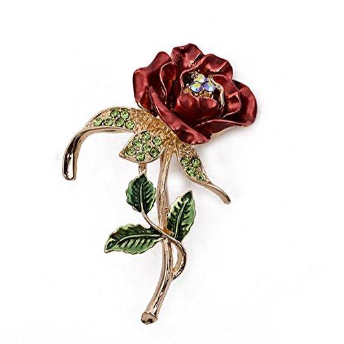 Fablcrew - Spilla a forma di quadrifoglio, da uomo, da donna, per matrimonio, da sposa, colore: Rosso