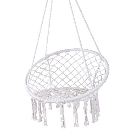 Y- STOP Hammock Chair Macrame Swing - Max 330 Lbs-Hanging Cotton Rope Hammock Swing Chair for Indoor and Outdoor Use (White)