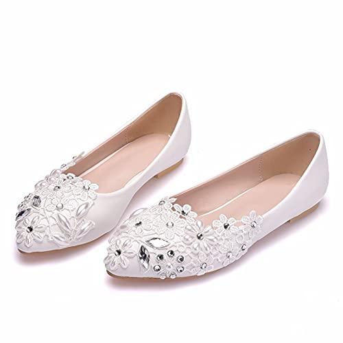 JingZhiBao Zapatos Boda Mujeres,Diamantes Imitación con Cuentas Zapatos Novia Planos Talla Grande,Zapatos...