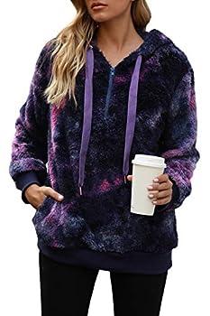 Yanekop Womens Fuzzy Fleece Sweatshirt Tie Dye Sherpa Pullover Oversized Hoodie With Pockets Dark Purple,3XL
