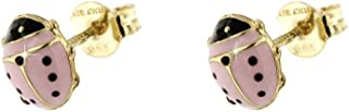 forme di Lucchetta per Bambina - Orecchini Oro Giallo 9k con Coccinella Rosa Portafortuna - Made in Italy Certificato, BR8671