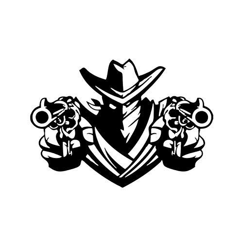 ZQZL 15,2 * 10,7 CM Pistola de Tiro de Combate más Fresca Pegatina gráfica para Coche decoración de Vinilo Negro/Plateado C12-0334