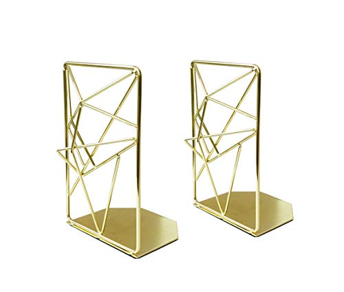 EZDC Gold Liquid Metal Bookends Decorative Pair, Stereoscopic Decorative Bookends for Shelves, Book...