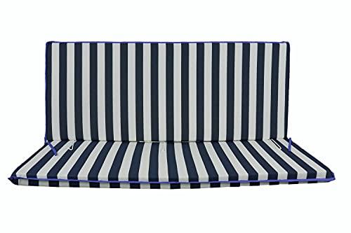 Cuscino Fasciato per dondolo 3 posti 135*55*6 cm imbottito e rivestito in cotone totalmente sfoderabile compreso di schienale e seduta (Bianco e blu)