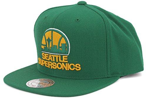 Seattle Supersonics Mitchell & Ness Vintage Basic Logo Green Snap Back Hat