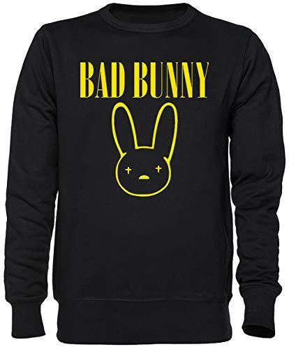 Capzy Bad Bunny Negro Jersey Sudadera Unisexo Hombre Mujer Tamaño XXL Black Unisex Jumper Size XXL