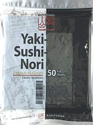 Yakinori Premium Gold, 50 Feuilles dalgues nori pour Sushi - Paquet de 50, (50 x 2,8g), qualité supérieure