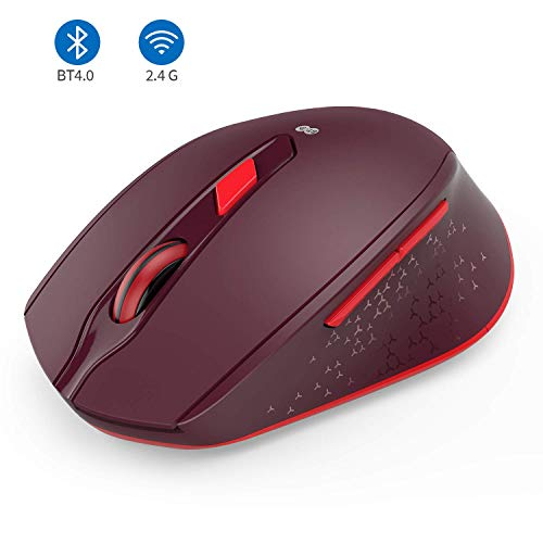 2.4G+Bluetooth Dual-Modi Kabellose Maus, ergonomische und leise Maus für Windows PC/Laptop/MacBook/Android Tablet/iPad(iPad OS sind erfordlich), Weinrot
