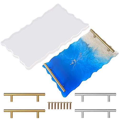 Silikonharz Schalenform Große Haltbare Geodenachat Platte Epoxidharz Gussform mit Griffen für DIY Home Decoration Art Craft Making