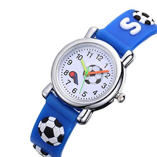 Hemobllo Fußball Fußball Uhr Zeit Lehrer Uhr Sport Armbanduhr Rundes Zifferblatt Kautschukarmband für Kinder Kinder Kleinkind Blau