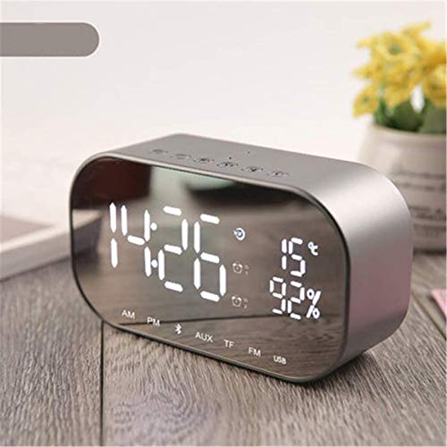 FENGCLOCK Dígito LED Espejo Inalámbrico FM Relio Reloj, Bluetooth Dual Speaker Metal Music Player Reloj De Alarma Espejo De La Cama Superficie Multifunción Alarma Reloj De Alarma,Plata