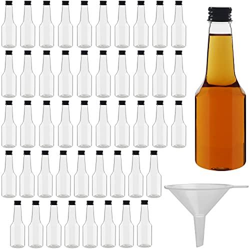Belle Vous Botellas de Licor Miniatura (Pack de 48) Botella Reutilizable de Plástico 100 ml Vacías - Tapa Negra de Rosca y Embudo Verter y Llenar – Mini Botellas Licor, Bodas y Fiestas