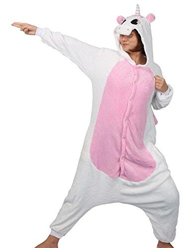Pigiama o Costume di Carnevale Halloween Pigiama Cosplay Party Onepiece Intero Animali Unicorno Regalo di Compleanno Per Adulti Adolescenziale Ragazzi (S(145-155cm), Rosa)