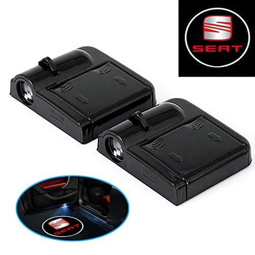 A71 2 Stück Wireless Auto Tür Licht LED Car Willkommen Projector Logo für SEAT, mehr gebohrt Werden