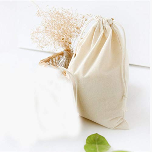 Tree-es-Life Bolsa de algodón de Color sólido Regalo Té de Caramelo Bolsa con cordón Bolsas de Almacenamiento Organizador Bolsa de Buggy Soporte de Bolsillo Contenedor Hop-Pocket - Beige S