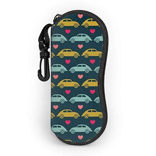AOOEDM Glasses Case with Carabiner,Vw Beetle Love Blue Olive Pink Ultra Light Portable Neoprene Zipper Sunglasses Soft Case