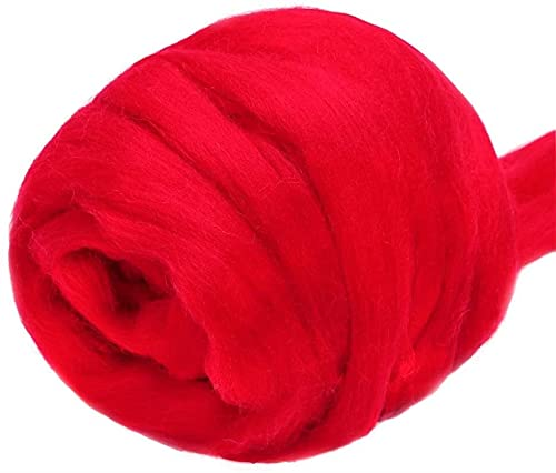 DUO ER 3.53oz Rojo Lana Rojo Hilado Hilado Chunky Hilado Spinning Lana ROVING para FELTTOR DE Aguja...