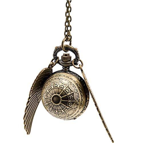 Petrichori Elegante Snitch Reloj de Cuarzo Encantador Vintage Angel Wing Fob Reloj de Bolsillo Colgante Reloj Collar Cadena para Hombres Mujeres - Telaraña de Bronce