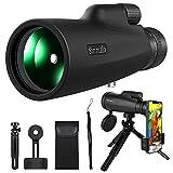 Monocular, 10-30x50 HD Monocular Impermeable monoculo telescopio portatil para Viajes de Caza, Juego de Pelota, Concierto, con Adaptador de Soporte para Smartphone y trípode, Lente FMC y prisma BAK4