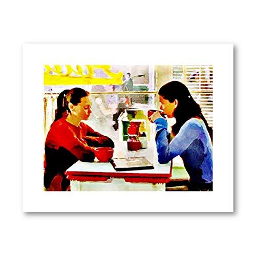 ASLKUYT Gilmore Girls TV Showe Poster Kaffee BEI Luke's Aquarell Abstrakte Kunst Malerei Küche Kunst Leinwanddrucke Dekor Freunde Geschenk-40x60cm Kein Rahmen