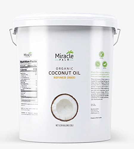 Coconut Oil Bulk - Organic Naturally Refined Coconut Oil (RBD) by Miracle Palm - Vegan, Tasteless, Non-GMO & Gluten Free - Ideal for Skin & Hair Care (5 Gallons)