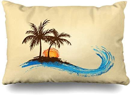 GFGKKGJFF0807 Retro Orange Strand Palmen Abstrakt Grün Floral Party Wave Hawaii Sonneninsel Meer Kissenbezug 40x60 cm für Home Decor Sofa Throw Kissenbezug Weihnachten Geburtstag Geschenk Idee