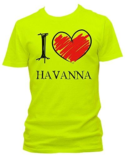 NEON Herren T-Shirt I Love Havanna Fun NEON, Größe:L;Farbe:neon gelb
