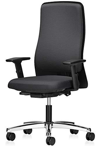 Interstuhl Drehstuhl RS600 mit Armlehnen Bürostuhl Schwarz Chrom ergonomischer Bürostuhl
